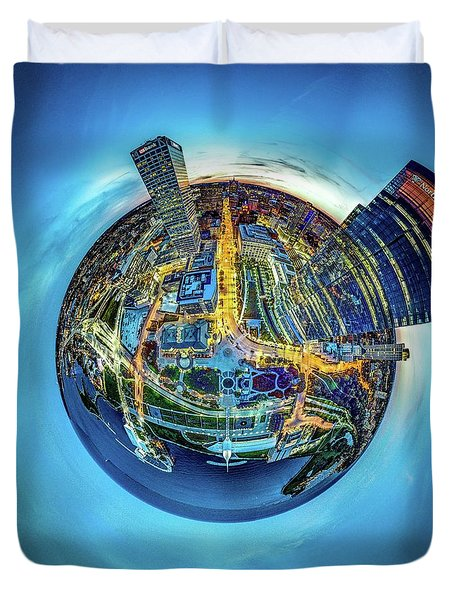 Duvet Cover featuring the photograph Milwaukee At Dusk Little Planet by Randy Scherkenbach