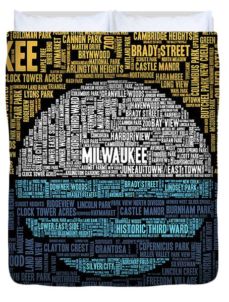 Milwaukee Neighborhood Word Cloud Duvet Cover