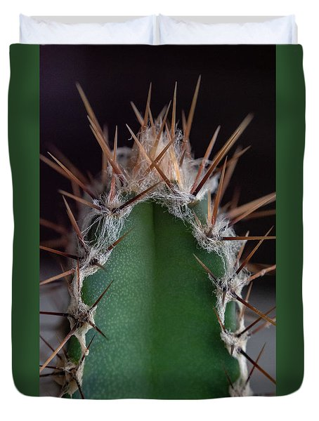 Duvet Cover featuring the photograph Mini Cactus Up Close by Scott Lyons
