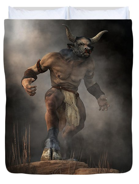 Duvet Cover featuring the digital art Minotaur by Daniel Eskridge