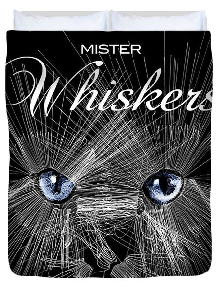 Duvet Cover featuring the digital art Mister Whiskers by ISAW Company