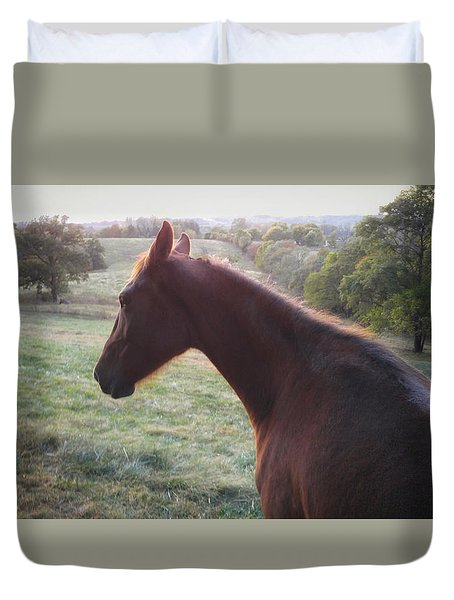 Duvet Cover featuring the photograph Misty by Carl Young