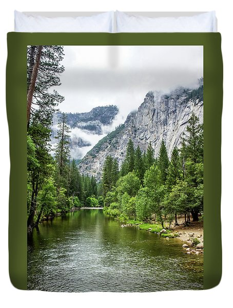 Misty Mountains, Yosemite Duvet Cover