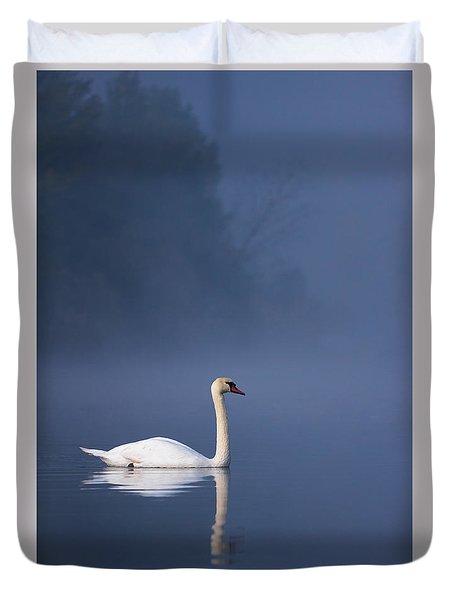 Duvet Cover featuring the photograph Misty River Swan 2 by Davor Zerjav