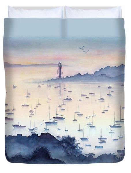 Misty Sunrise Marblehead Harbor Duvet Cover