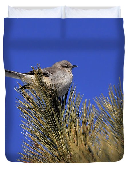 Mockingbird In White Pine Duvet Cover