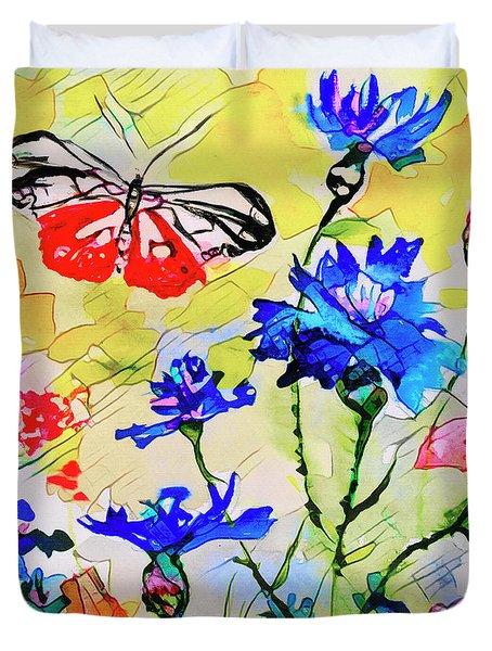 Modern Floral Art Butterfly Cornflowers Duvet Cover