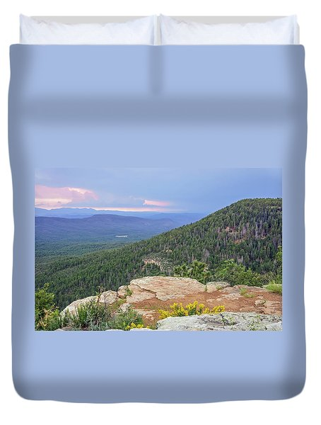Duvet Cover featuring the photograph Mogollon Rim Sunset by Dawn Richards