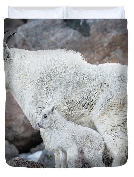 Mom And Baby Mountain Goat Duvet Cover