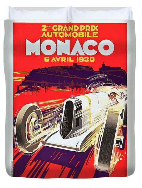 Monaco Grand Prix 1930, Vintage Racing Poster Duvet Cover