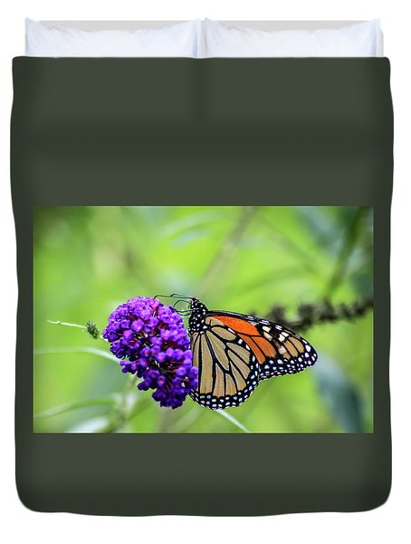 Duvet Cover featuring the photograph Monarch And Black Knight by Dawn Richards