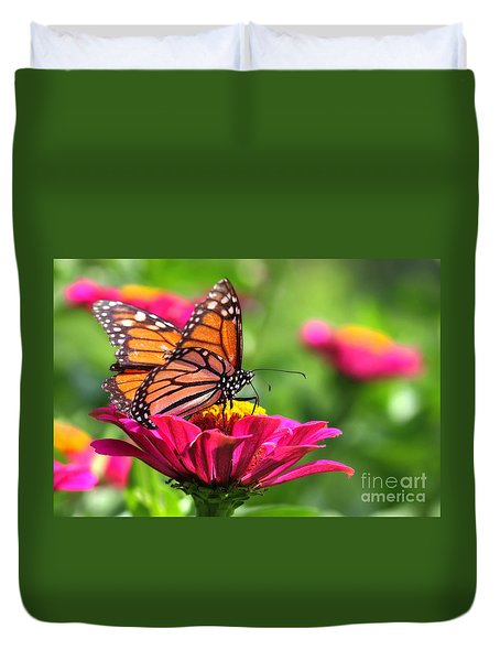 Monarch Visiting Zinnia Duvet Cover
