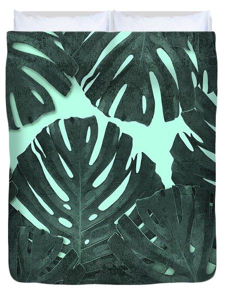 Monstera Leaf Pattern - Tropical Leaf - Teal - Tropical, Botanical - Modern, Minimal Decor Duvet Cover