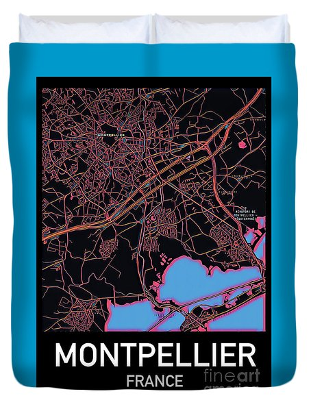 Montpellier City Map Duvet Cover