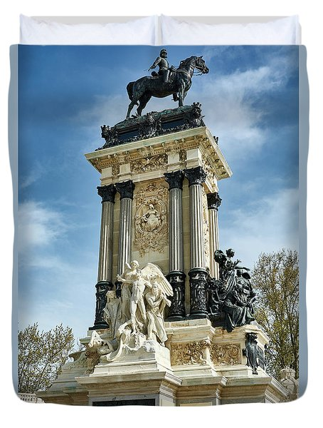 Monument To King Alfonso Xii At Retiro Park In Madrid, Spain Duvet Cover
