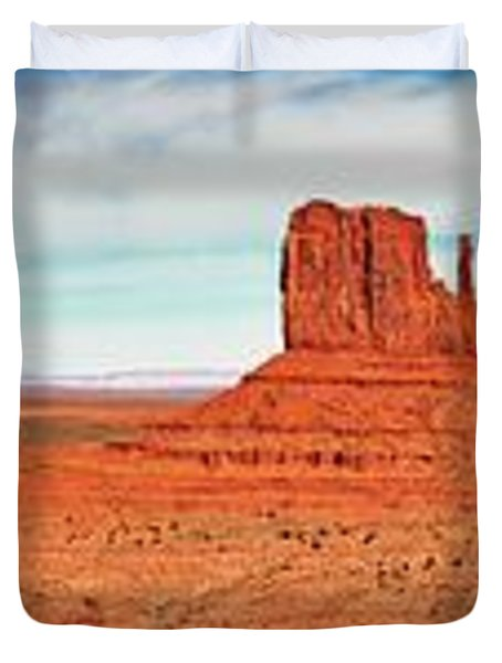 Duvet Cover featuring the photograph Monument Valley Panorama by Andy Crawford