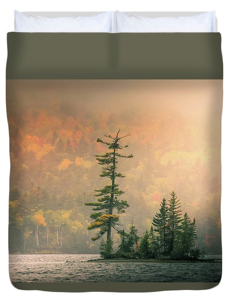 Duvet Cover featuring the photograph Moody Autumn Morning On Moosehead Lake by Dan Sproul