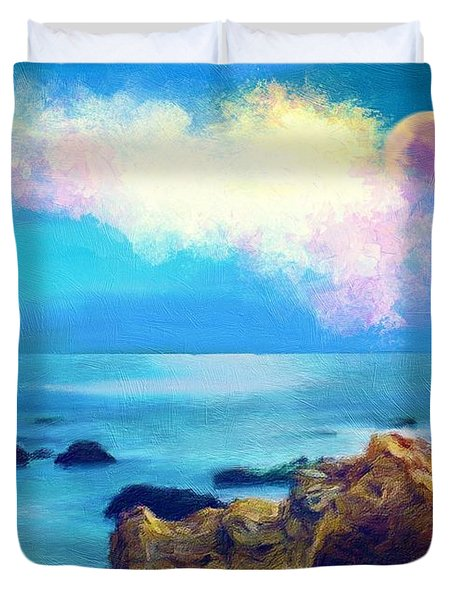 Moon And Sea Duvet Cover