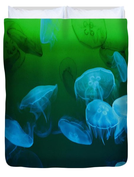 Moon Jellyfish - Blue And Green Duvet Cover