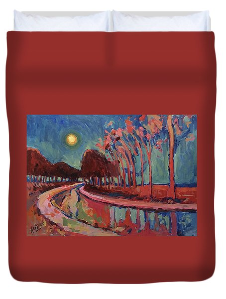 Moon Night At The Canal Duvet Cover
