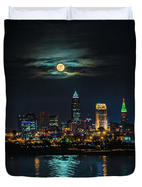 Moon Over Cleveland  Duvet Cover