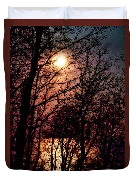 Moon Setting On Winter Duvet Cover