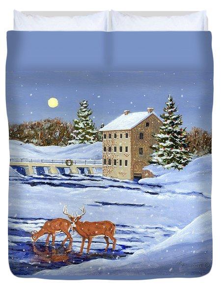 Moonlight Millpond Whitetails Duvet Cover