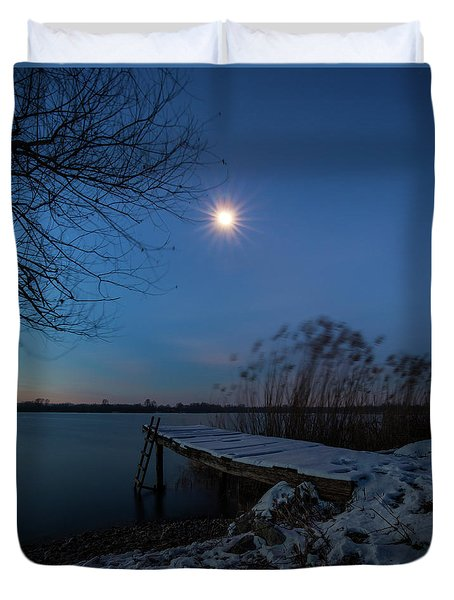 Duvet Cover featuring the photograph Moonlight Over The Lake by Davor Zerjav