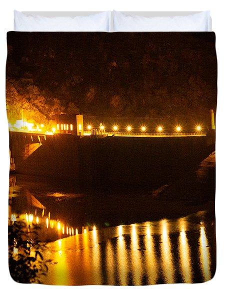 Moonlit Dam Duvet Cover
