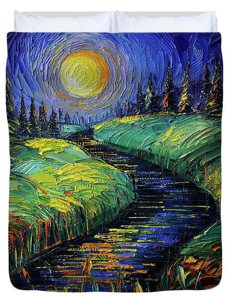 Moonscape Phantasmagoria Textured Impasto Palette Knife Oil Painting Mona Edulesco Duvet Cover