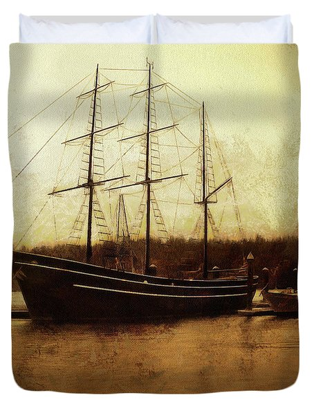 Duvet Cover featuring the photograph Moored by Thom Zehrfeld