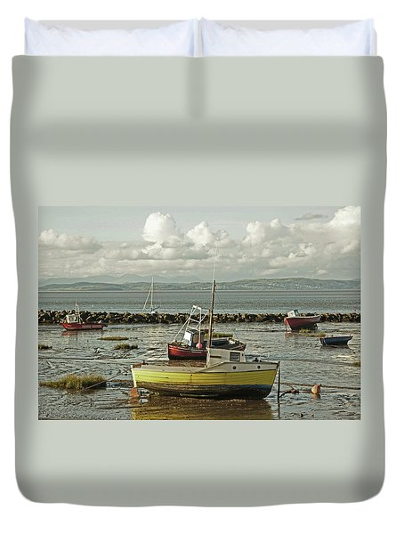 Morecambe. Boats On The Shore. Duvet Cover