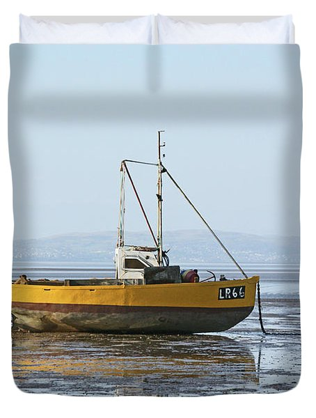Morecambe. Yellow Fishing Boat. Duvet Cover