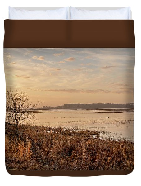 Duvet Cover featuring the photograph Morning At Boombay Hook by Kristia Adams