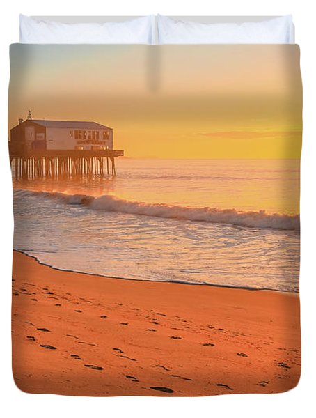 Morning Footsteps On Old Orchard Beach Duvet Cover