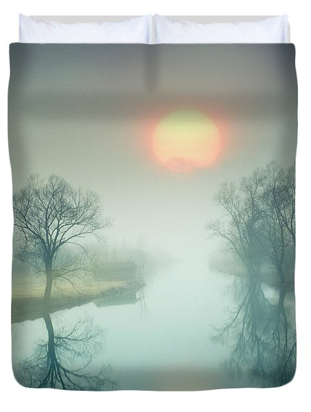 Duvet Cover featuring the photograph Morning Mist by Edmund Nagele