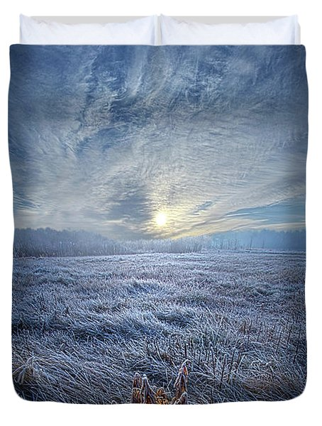 Duvet Cover featuring the photograph Morning Time Blues by Phil Koch