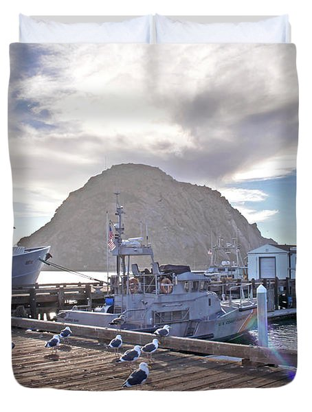 Morro Bay Harbor Duvet Cover