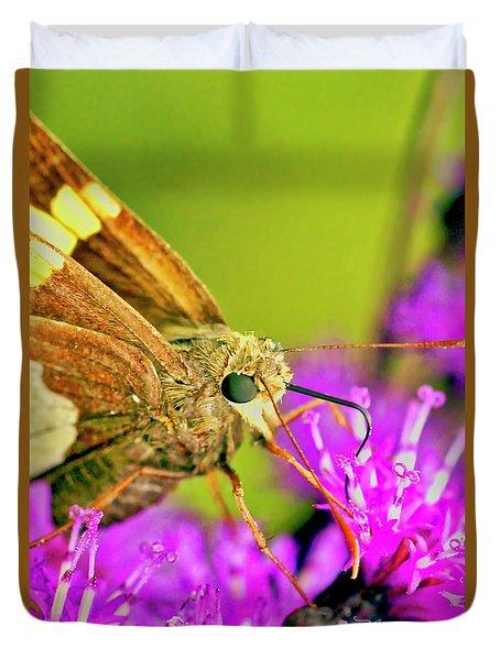 Moth On Purple Flower Duvet Cover