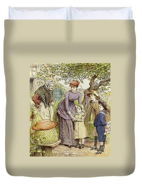 Mother And Children By A Beehive Duvet Cover