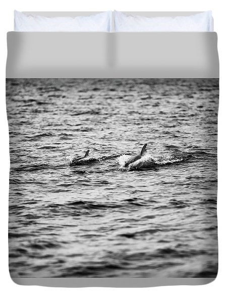 Mother Dolphin And Calf Swimming In Moreton Bay. Black And White Duvet Cover