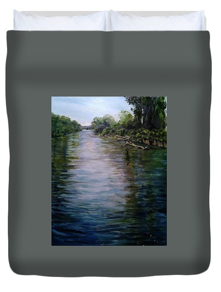 Mount Baker Peekaboo View From Lowell Riverfront Trail Duvet Cover
