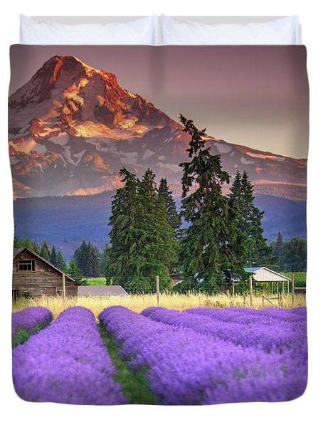 Mount Hood Lavender Field  Duvet Cover