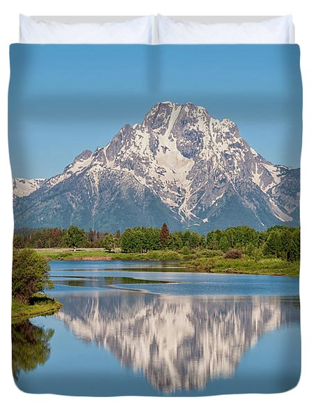 Mount Moran On Snake River Landscape Duvet Cover