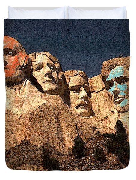 Mount Rushmore Red And Blue Drawing Duvet Cover