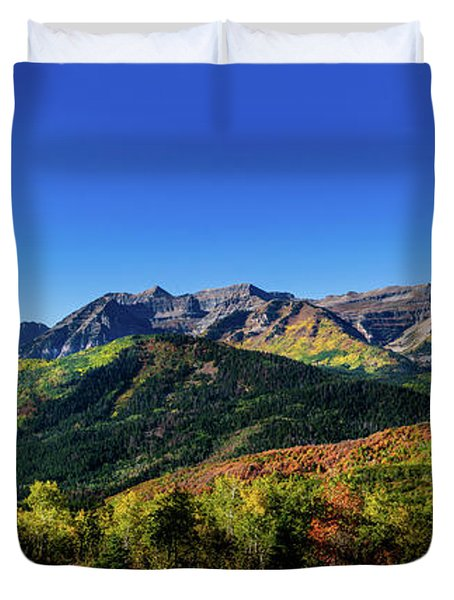 Duvet Cover featuring the photograph Mount Timpanogos by TL Mair