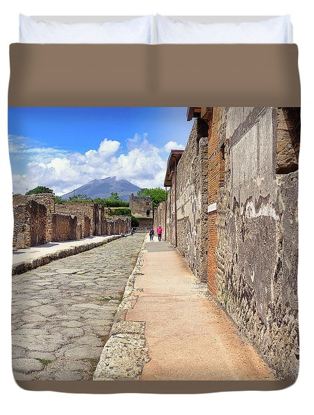 Duvet Cover featuring the photograph Mount Vesuvius And The Ruins Of Pompeii Italy by Robert Bellomy