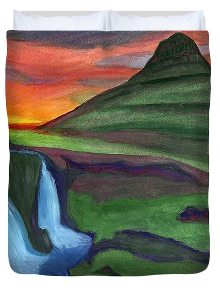 Mountain And Waterfall In The Rays Of The Setting Sun Duvet Cover