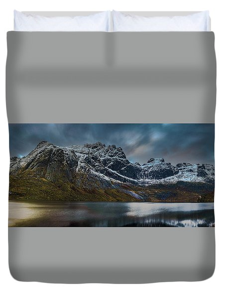 Mountain Lake In Norway On Lofoten Near Nusfjord Duvet Cover