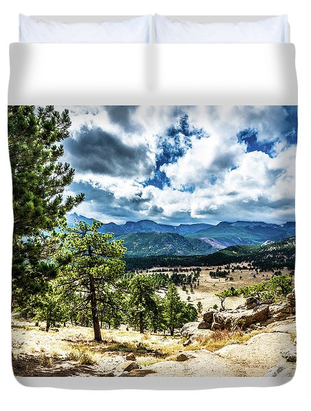 Duvet Cover featuring the photograph Mountains Across The Way by James L Bartlett